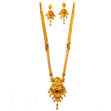 One Gram Gold Forming Peacock Shaped Meenakari Long Necklace Set MGA - HRE0005