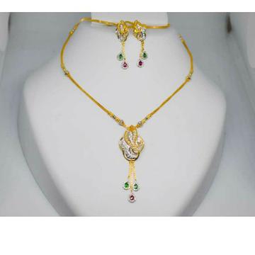 Chain pendant set with colour stone