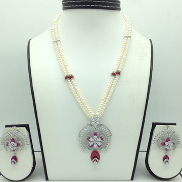 White,RedCZPendentSet With 2Line FlatPearls M...
