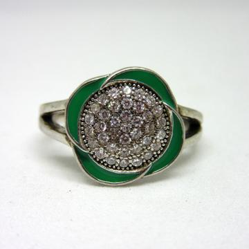 Silver 925 classic green meena ring sr925-84