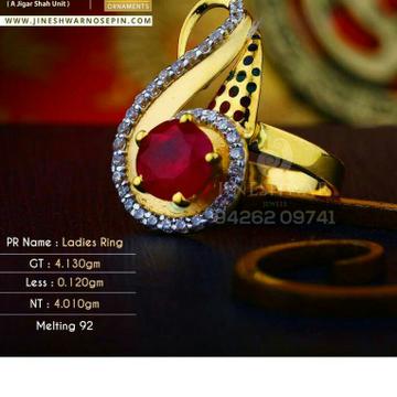 22kt Dazzeld Gold Cz Ladies Ring LRG -0424