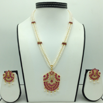 White And Red CZ Pendent Set With 2 Line Flat Pear...