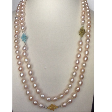 Freshwater Orange Oval Pearls Knotted Long Mala with Multicolour Crystal Flowers
