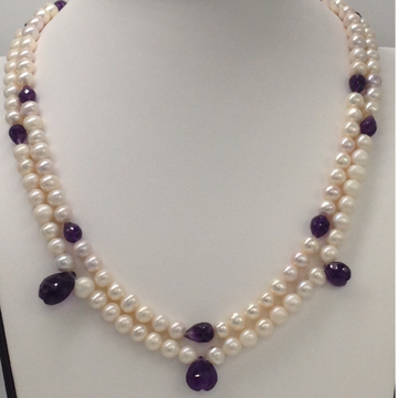 Freshwater White Potato Pearls 2 Layers Necklace with Faceted Amethyst Drops