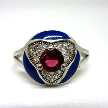 Silver pink stone blue meena ring sr925-209