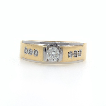 18kt yellow gold engagement solitaire diamond band...