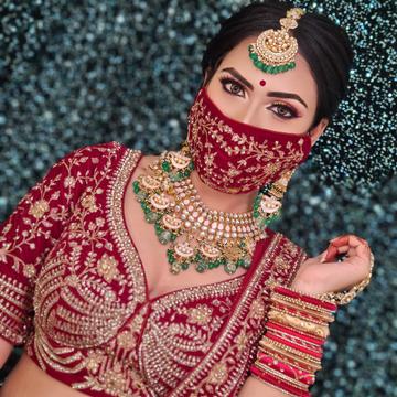 Gold plated pink pachhi kundan with green beads ne...