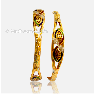 22K Enamel Gold Light Weight Bangles