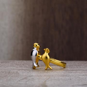 Ladies 22K Love Birds Cz Plain Gold Ring-LPR164