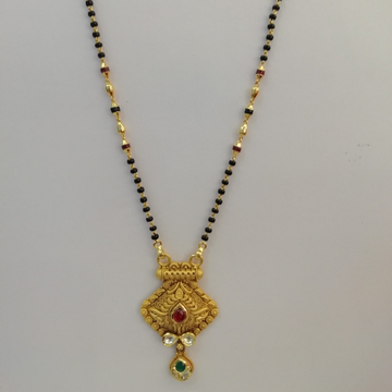 916 gold antique jadtar red and green colour stone short mangalsutra by Vinayak Gold