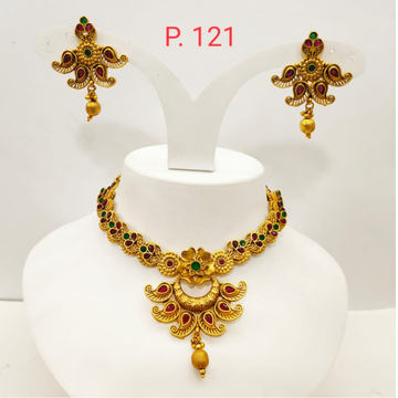 Traditional kuiri shape gold plated necklace set with Red & green stone 1326