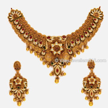 916 Gold Attractive Bridal Choker Necklace Set
