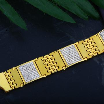 Mens 916 Diamond Casting Gold Bracelet-MCB23