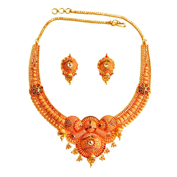 916 Gold Round Shaped Geru Polish Necklace Set MGA - GN072