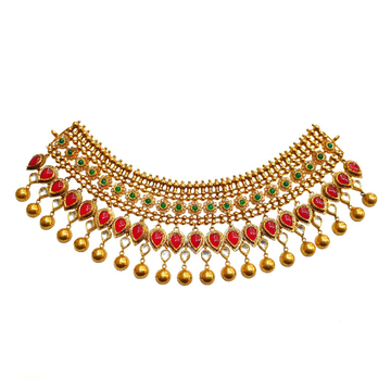 22k gold antique bridal choker necklace set - gn0092