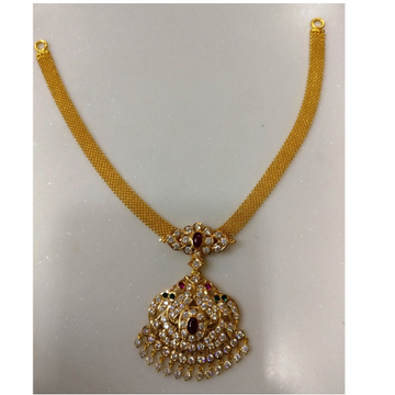 22kt gold close setting CZ mesh chain peacock  attigai(adigai)