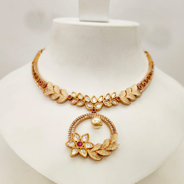 Fancy Gold Tone Flower Design Kundan & Diamond Necklace Set 1416