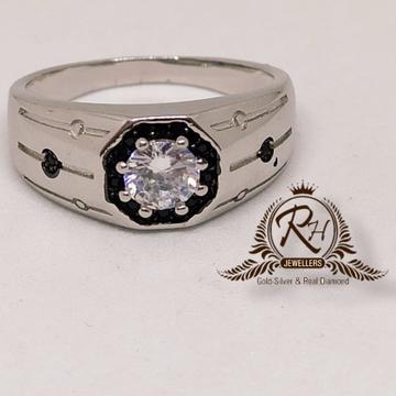 silver 92.5 gents single stone diamond ring Rh-Gr933