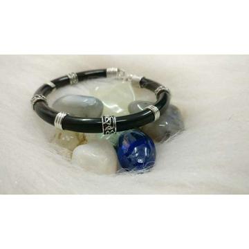Black Color Plain Finish Spring Rubber Adjustable Round(Goal) Bracelet Ms-2597