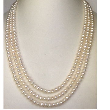 Freshwater White Potato Pearls Necklace 3 Layers