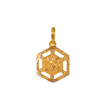 18K Gold Hexagon Shaped Om Pendant MGA - PDG0019