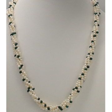 Freshwater White Seed Pearls 4 Layers Twisted Necklace with Green Semi Faceted Beeds
