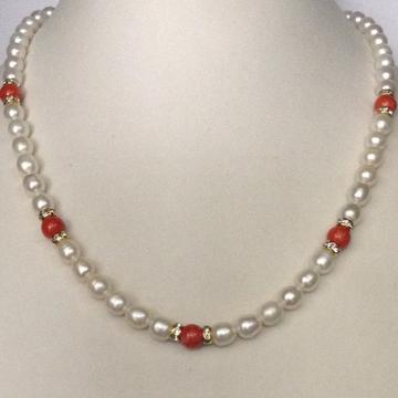 Freshwater White Oval Pearls with CZ Chakri Strand