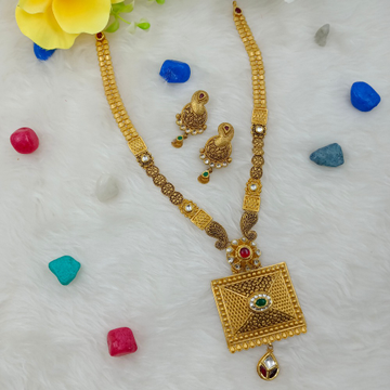 22kt gold hallmark long design necklace set by Ranka Jewellers