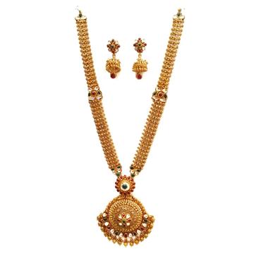 22k Gold Long Rajwadi Necklace With Jummar Buti MG...