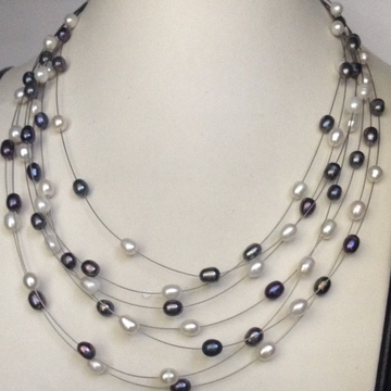 Freshwater White and black Oval Pearls 7 Layers Wire Necklace