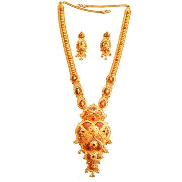 22k Gold Designer Long Necklace Set MGA - GLS021