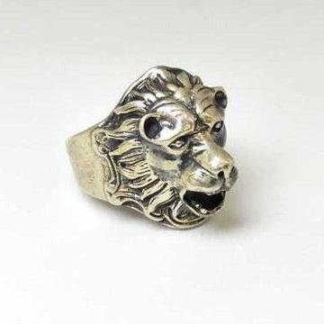 925 Sterling Silver Oxides Lion Designed Gents Ring