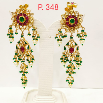ruby stone long earring with hanging Green & White Moti 1698