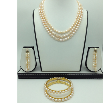 Freshwater Peach Oval 3 Lines Pearls Full Set JPP1043