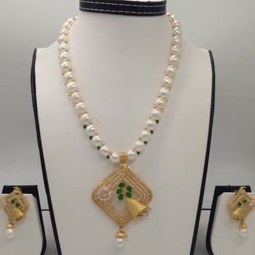 White, Green CZ And Pearls PendentSet With 1Line ButtonJali Pearls Mala JPS0415