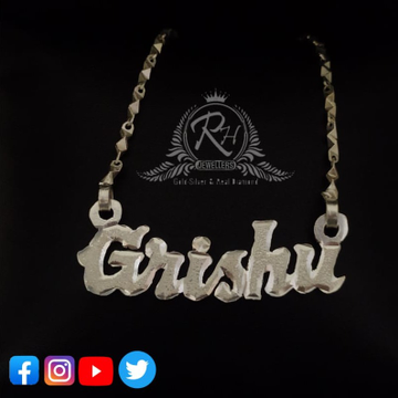 92.5 silver  cursive name letter pendant chain rh-pc218