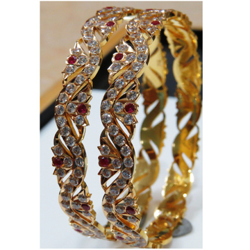 22kt gold close setting fancy Zig-Zag design cz bangle bg-001