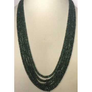 Natural Green Transparent Emeralds Faceted Round Beeds 5 Layers Necklace