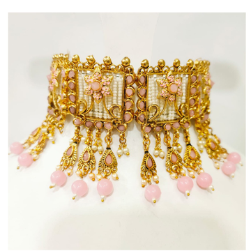 Antique design with full choker and pink hanging and white moti set 1386