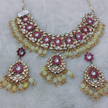Pink and white kundan #bdns051
