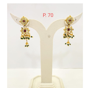 Traditional Gold plated kundan Earring with Hanging moti 1681
