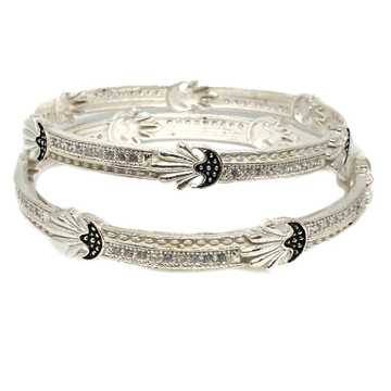 925 sterling silver cz diamond kadli bangle mga - kds0302