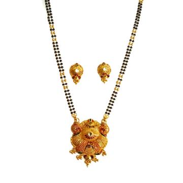 22k Gold Modern Stylish Meenakari Peacock Mangalsutra MGA - GM058