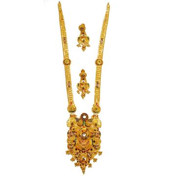 22k Gold Designer Long Necklace Set MGA - GLS023