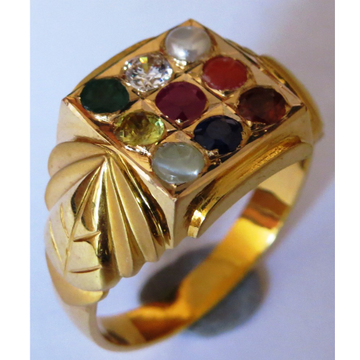 22kt gold close setting navarthan gemstone gents ring nR-001