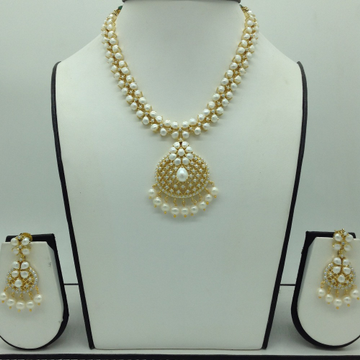 Freshwater White Button Pearls Necklace Set JNC011...