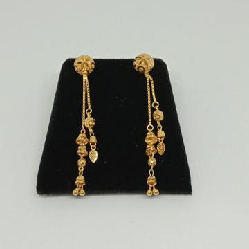 22KT Gold Double Line Latkan Earring MJ-E004
