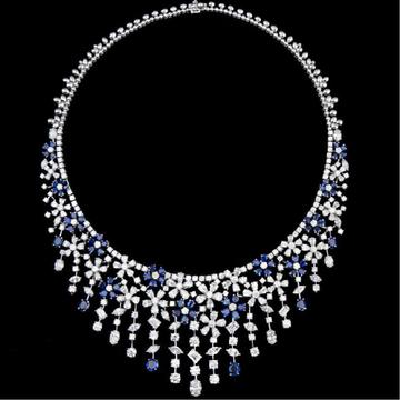 Diamonds and Blue Sapphires NecklaceJSJ0144