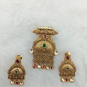 916 GOLD ANTIQUE JADTAR MANGALSUTRA PENDENT SET by Ranka Jewellers