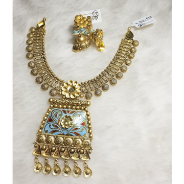 916 Gold Meenakari Khokha Necklace Set KG-N02